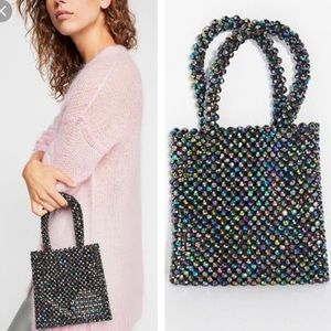 NEW Free People Beaded Mini Tote Multicolored
